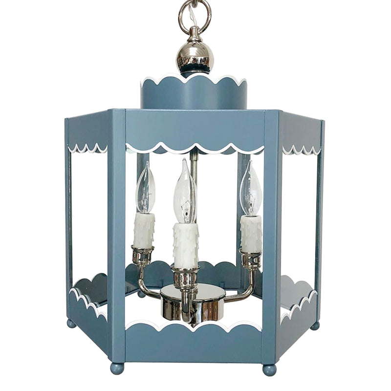 The Scalloped Lantern in a Custom Color w/ Nickel Hardware and White Trim