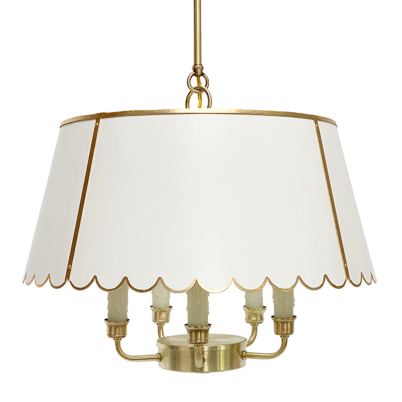 The Scalloped Maisie in Standard Ivory w/ Gold Gilt Trim & Brass Hardware