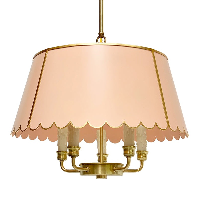 The Scalloped Maisie in custom BM Sanibel Peach w/ Gold Gilt Trim & Brass Hardware