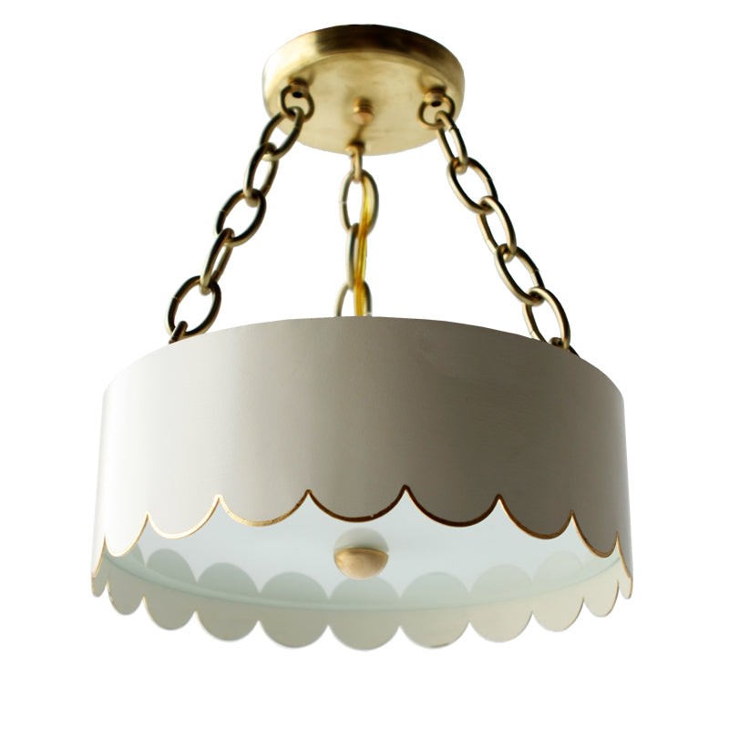 The Scalloped Semi Flush in Standard Ivory w/ Gold Gilt Trim
