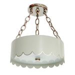 Load image into Gallery viewer, The Scalloped Semi Flush in Standard Gray Mist w/ Silver Gilt Trim & Nickel Hardware