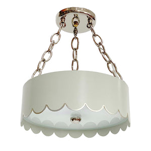 The Scalloped Semi Flush in Standard Gray Mist w/ Silver Gilt Trim & Nickel Hardware