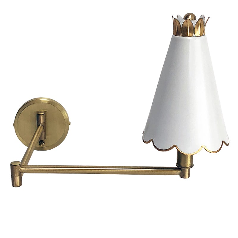 The Scalloped Swing Arm Sconce in Custom White w/ Gold Gilt Trim