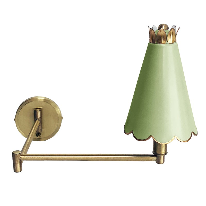 The Scalloped Swing Arm Sconce in a Custom Green w/ Gold Gilt Trim
