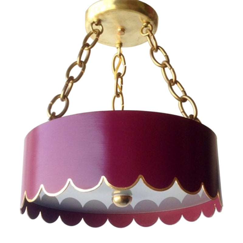 The Scalloped Semi Flush in a Custom Color w/ Gold Gilt Trim & Brass Hardware