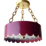 Load image into Gallery viewer, The Scalloped Semi Flush in a Custom Color w/ Gold Gilt Trim & Brass Hardware