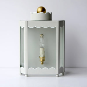 The Single Light Scalloped Sconce in Standard Gray Mist w/ White Trim & Brass Hardware
