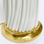 Load image into Gallery viewer, Close Up of Gold Water Gilt Base w/ Lamp in Ivory Finish