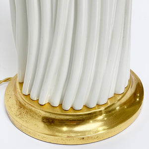 Close Up of Gold Water Gilt Base w/ Lamp in Ivory Finish