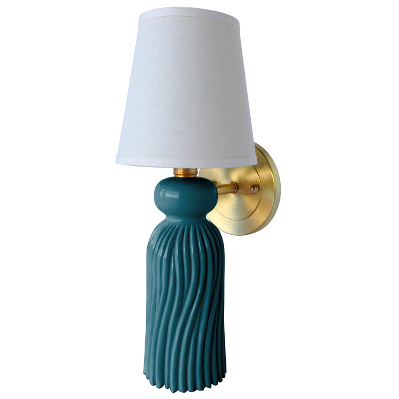 THe Tassel Sconce in Standard Peacock w/ Brass Hardware