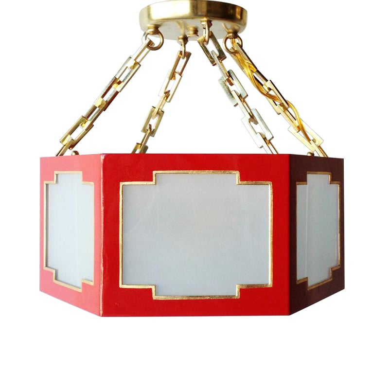 Taylor Semi Flush in a Custom Red w/ Gold Gilt Trim