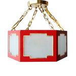 Load image into Gallery viewer, Taylor Semi Flush in a Custom Red w/ Gold Gilt Trim