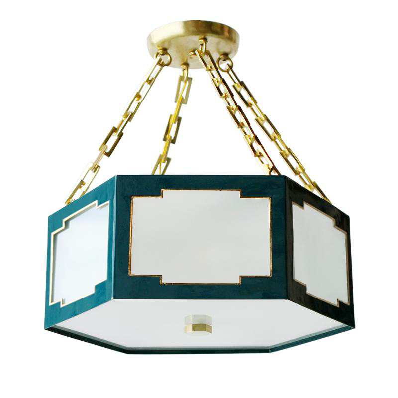 IN STOCK SMALL TAYLOR SEMI FLUSH MOUNT IN PEACOCK W/ GOLD TRIM