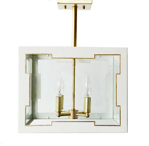 The Taylor Lantern Semi Flush in Standard Ivory w/ Gold Gilt Trim