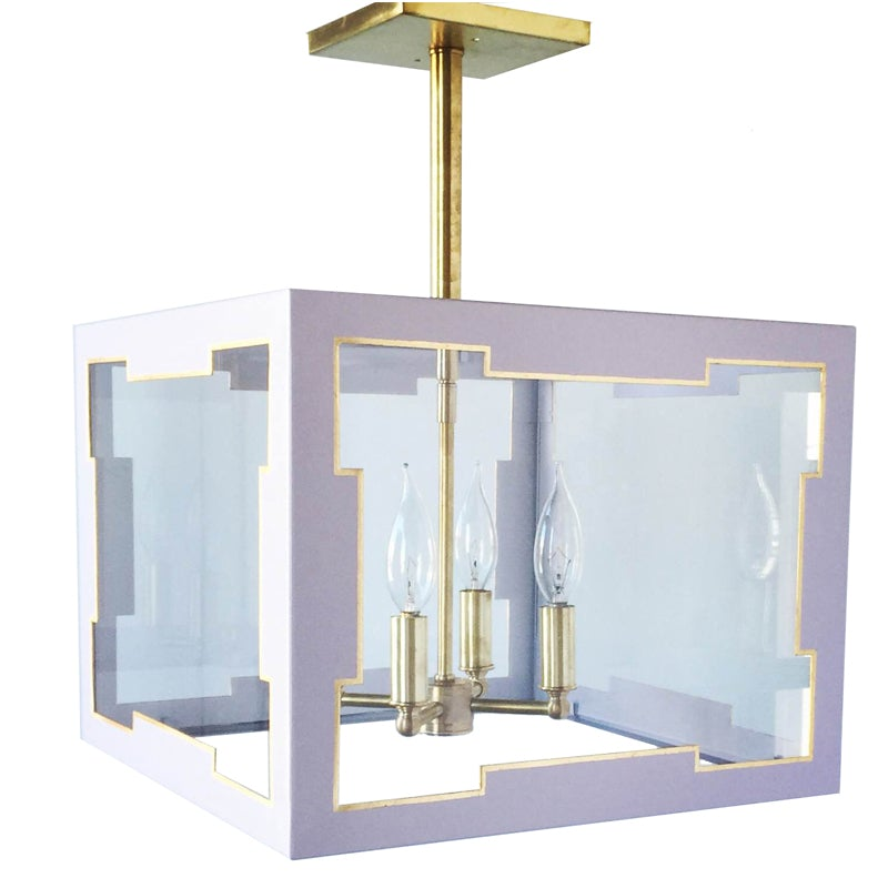 The Taylor Lantern Semi Flush in a Custom Lavender w/ Gold Gilt Trim