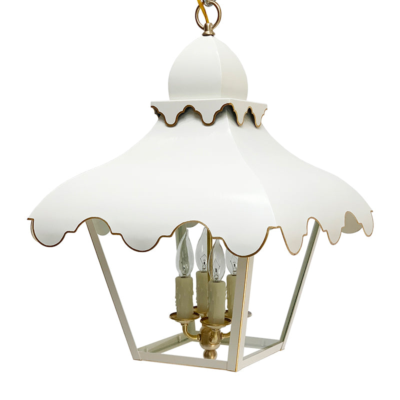 The Tole Tent Lantern in Standard Ivory w/ Gold Gilt Trim & Brass Hardware