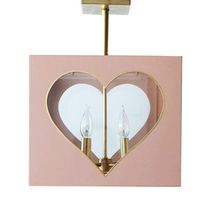 The Valentina Semi Flush in Standard Blush w/ Gold Gilt Trim & Brass Hardware