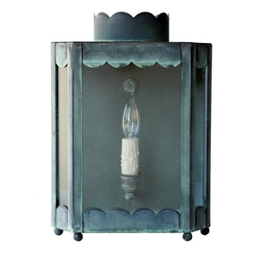 The Single Light Scalloped Sconce in Verdigris Finish