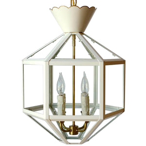 Vivienne Lantern in Standard Ivory Finish w/ Gold Gilt Trim & Brass Hardware