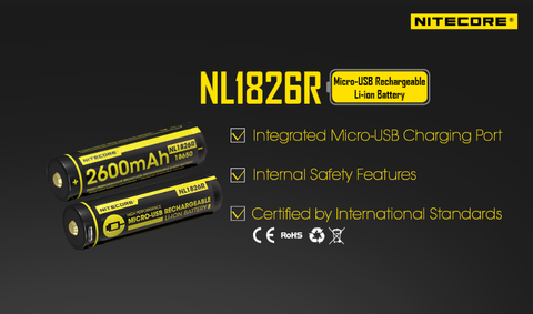 Nitecore NL1826R Micro USB Rechargeable 18650 lithium battery.