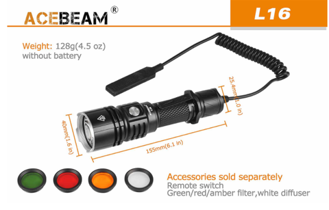Extra accessories for the Acebeam L16 led flashlight not included.