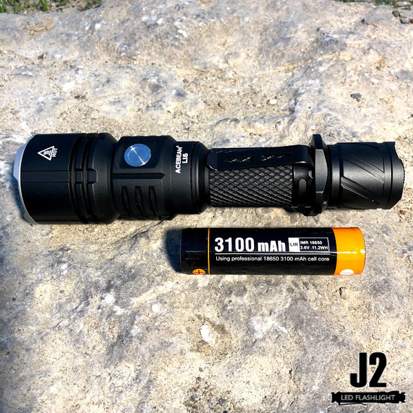 Acebeam L16 led flashlight with Acebeam customized 18650 battery.