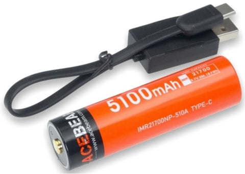 Acebeam IMR2170NP-510A Type C lithium battery.
