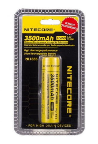 Nitecore 18650 3500 mah in clam shell packaging.