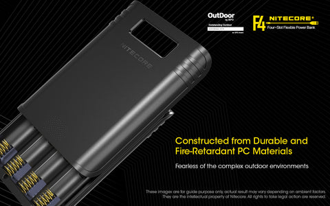 Nitecore F4 Four Slot Flexible Power Bank is a constructed from durable and fire retardant PC materials.