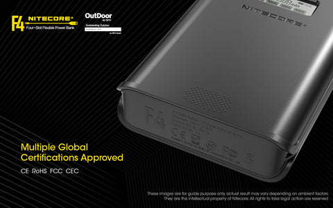 Nitecore F4 Four Slot Flexible Power Bank is a multiple global certifications approved