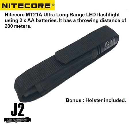 Nitecore MT21A Ultra long range 2 x AA flashlight with holster