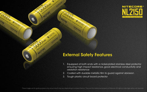 Nitecore NL2150 External Safety Features