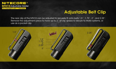 Adjustable clip for the Nitecore NTH10 holster.