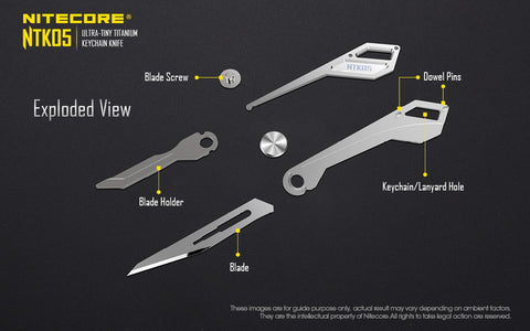 Nitecore NTK05 Ultra Tiny Titanium Key chain Knife has an exploded view of blade holder, blade screw, dowel pins, key chains and lanyard hole.
