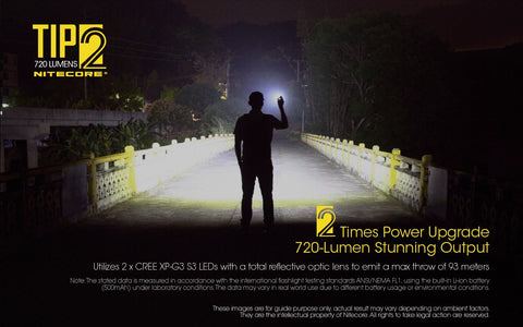 Nitecore TIP2 has 2 times power upgrade 720 lumen stunning out put.
