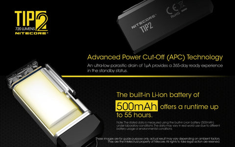 Nitecore TIP2 has advanced power Cut off ( APC ) technology.