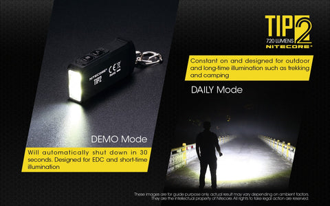 Nitecore TIP2 has daily mode and demo modes.