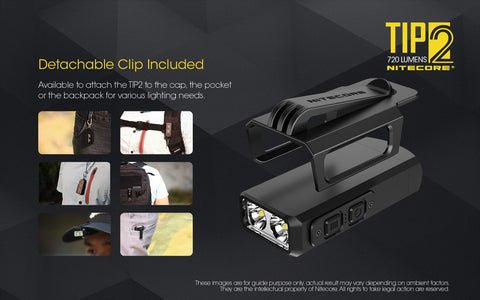 Nitecore TIP2 has detachable clip included.