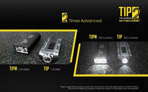 Nitecore TIP2 has 2 emitters as compared with the first versions.