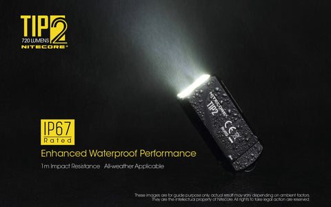 Nitecore TIP2 is IP67 enhanced waterproof performance.
