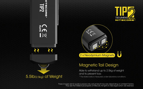 Nitecore TIP2 has a magnetic tail cap design.