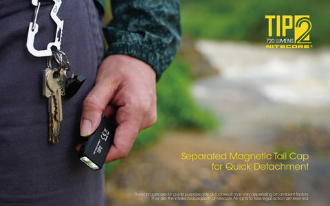Nitecore TIP2 is separate magnetic tail cap for quick detachment.