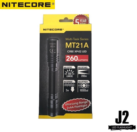 Packaging for Nitecore MT21A Ultra long range 2 x AA flashlight