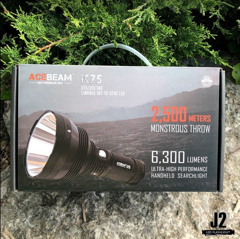 Packaging of Acebeam TK75 search light in Toronto, Ontario, Canada