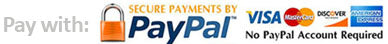Pay with Paypal, Visa or Mastercard