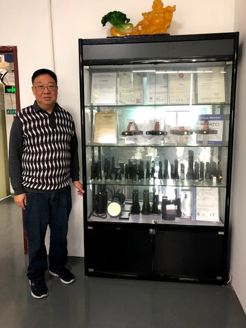 A show case of Acebeam products at Acebeam's Head Office in China.