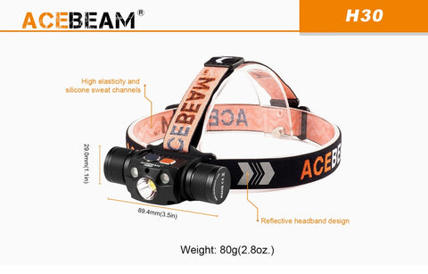 Weight and size of Acebeam H30 headlamp