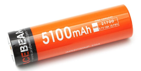 Acebeam IMR 21700 5100mAh 3.7V Protected High-Drain 20A Lithium Ion (Li-ion) Button Top Battery