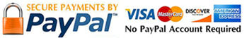 Secure Payments by Paypal, Visa and Mastercard Accepted.