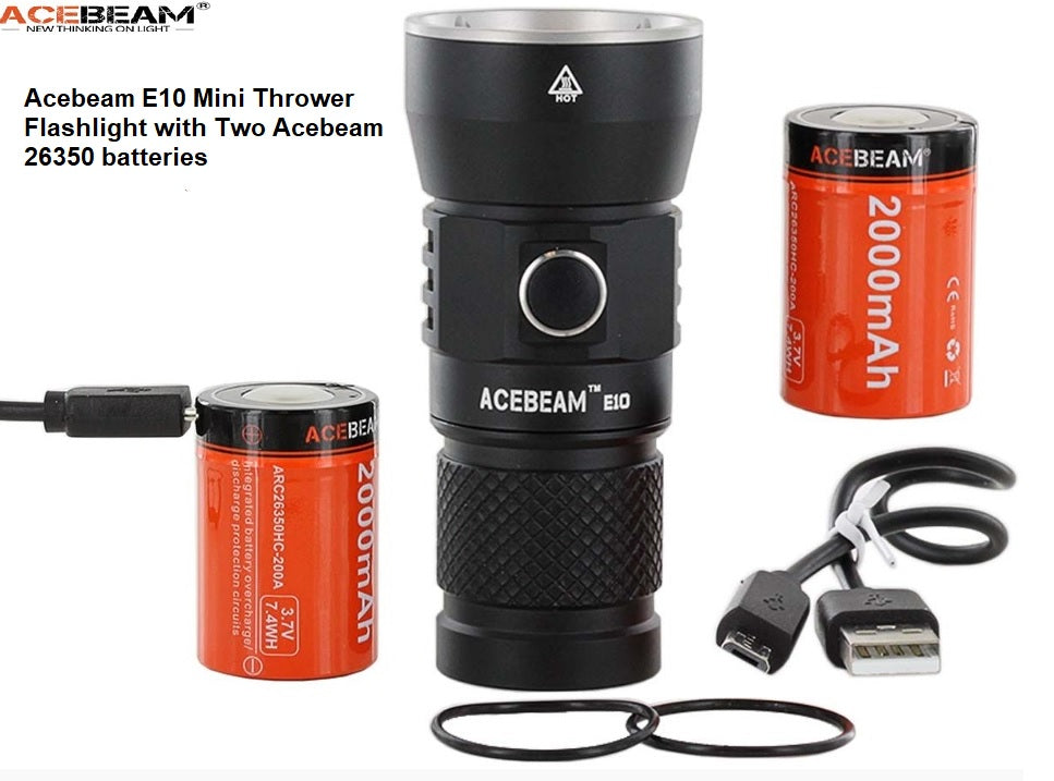 Long Throw 1800 ft Tactical Flashlight with Rechargeable Battery 760 Lumens ACEBEAM E10 LED Flashlight